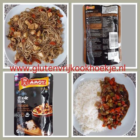 zwarte bonensaus met rijst of noedels